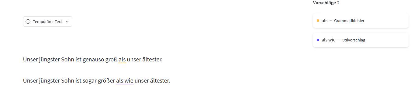 LanguageTool weist Sie auf die falsche Verwendung der Vergleichspartikeln (wie, als und als wie) hin.